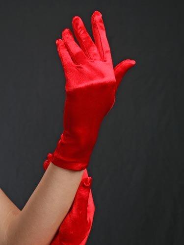 合体政権凍るウエディンググローブ サテン手袋 ショート レッド G-18S-Red