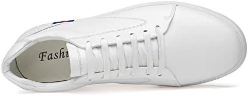 Chaussures De Skate en Cuir pour Hommes Sneakers Mode,White,EU43/US9.5(M)/UK9