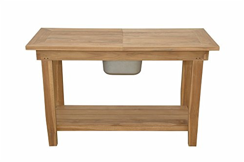 Anderson Teak TB-4821 Nautilus Console Table with SS Container ()