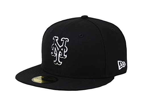 New Era 59fifty Mens Hat York Mets Black/White Fitted Cap