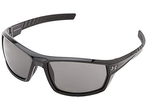 Under Armour Men's Ranger Sunglasses Rectangular, Shiny Black & Black Rubber, 56 mm]()