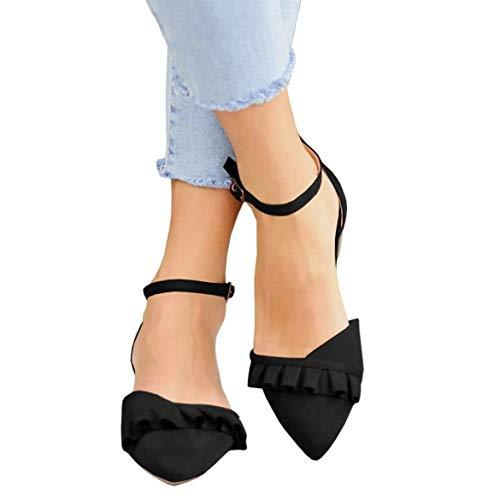 Ballerina Flat - Coutgo Womens Pointed Toe Ballerina Flats Wrap Ankle Strap Ruffle Ballet Work Walking Shoes