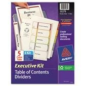 Avery(R) Executive Ready Index(R) Table Of Contents Dividers, 5 Tab, Multicolor