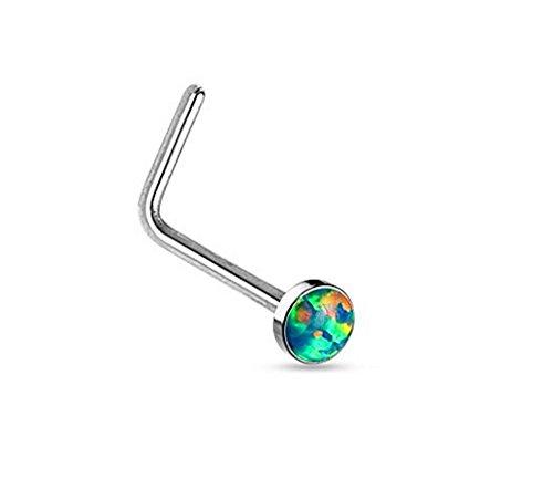 (Amelia Fashion 20 Gauge Round Opal Set L Bend Nose Stud Ring 316L Surgical Steel (CHOOSE COLOR) (Green) )