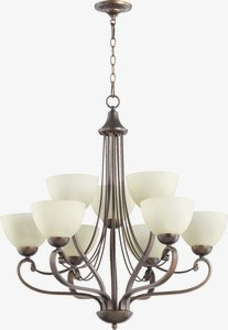 (Quorum Lighting 6031-9-86, Lariat Glass 2 Tier Chandelier Lighting, 9 Light, Oiled Bronze)