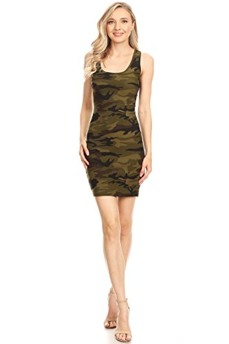 Casual Sexy Racer-Back Mini Bodycon Dress/Made in USA CAMGREEN3 ()