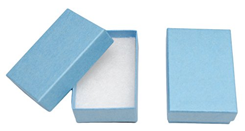 Novel Box MADE IN USA Jewelry Gift Box in Light Blue Kraft With Removable Cotton Pad 2.5X1.8X1