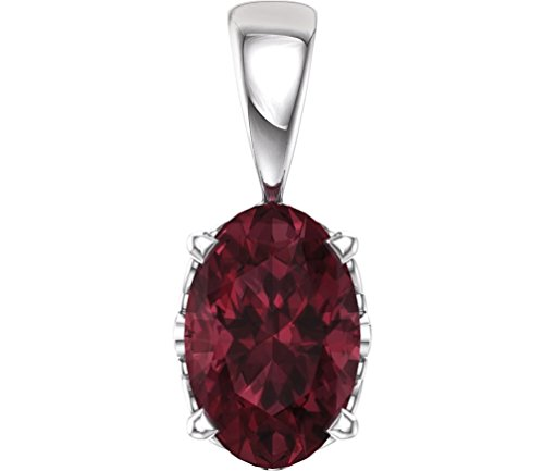 (Oval Mozambique Garnet Pendant, Rhodium-Plated 14k White Gold)