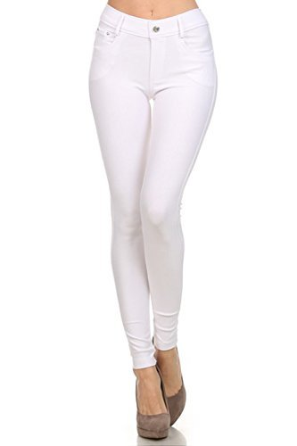Yelete Womens Basic Five Pocket Stretch Jegging Tights Pants, White, Small