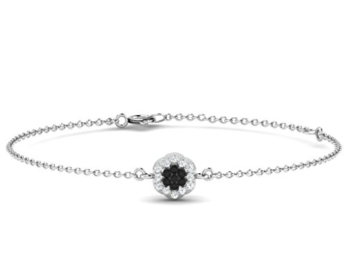 Or Blanc 18 ct Bracelet Diamant en forme de Fleur, 0.12 Ct Diamant, GH-SI, 0.44 grammes.