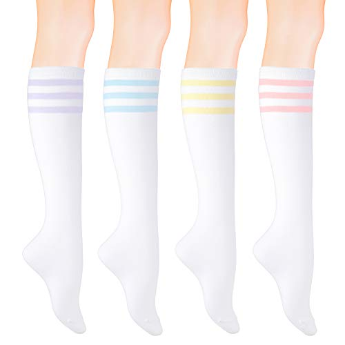 KONY Women's 4 Pairs Striped Knee High Socks Soft Stretch Cotton All Season Gift Size 6-10 (Triple Stripe White)