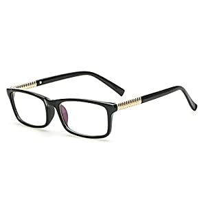 dking vintage inspired rectangle glasses frame eyeglasses clear lens black gold