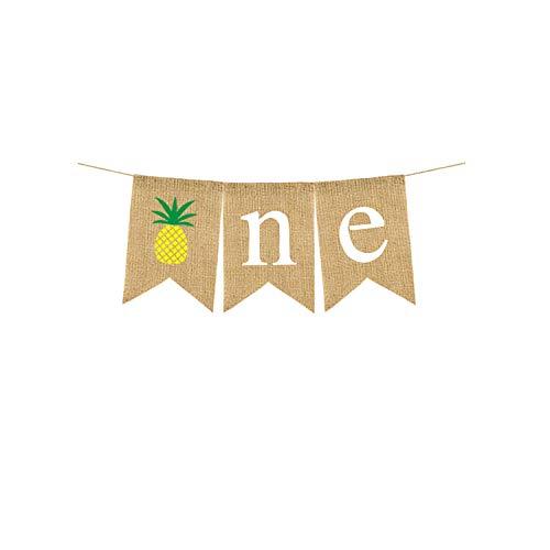 Rainlemon Jute Burlap One Banner with Pineapple Boy Girl 1st Birthday Highchair Banner Summer Party - Banner Pineapple