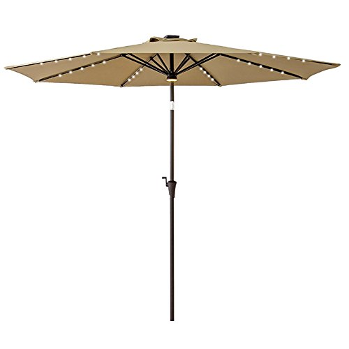 FLAME&SHADE 10ft Round Patio Umbrella with Solar Power LED Lights Outdoor Market Parasol with Crank Lift, Push Button Tilt, Beige Review