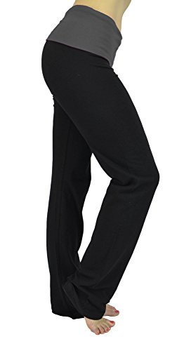Belle Donne Womens Workout Fexible Fold Over Cotton Yoga Pants-Charcoal/Small