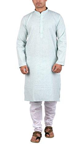 Maharaja Mens 100% Pure Cotton Striped Kurta Pyjama Set for Daily and Festive Wear in Light Green [MSKP010-44]