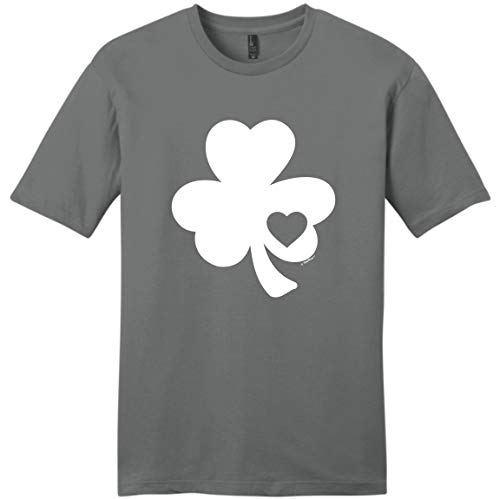St Paddys Day Costume Ireland Apparel Lucky Irish Gifts Shamrock Heart Cutout St Pats Day Young Mens T-Shirt Medium Grey ()