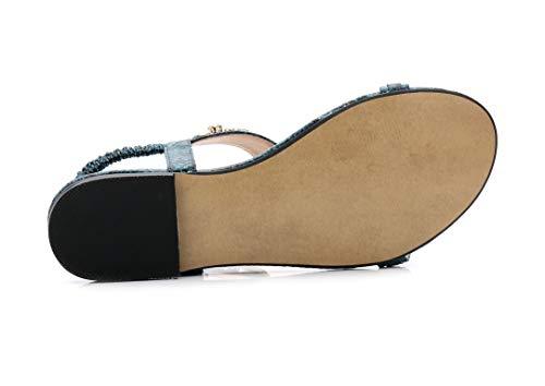 à d'été Dame Vert Fond Classiques Bohème Sandales Ouvert Design Sandales JDS® à Bout Fortuning's Plat wS5AqxYq