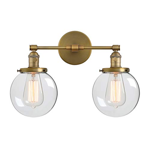 "Phansthy Double Sconce Vintage Industrial 2-Light Wall Light with 5.9"" Clear Glass Canopy(Antique) ()"
