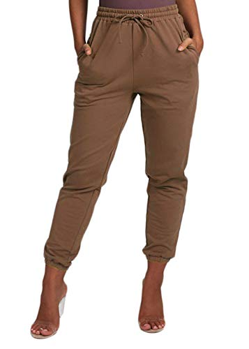 Cosygal Women's French Terry Jogger Sweatpant with Drawstring Pockets Brown Medium