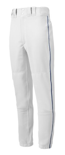 Mizuno Adult Men's Premier Piped Baseball Pant, White-Navy, Medium
