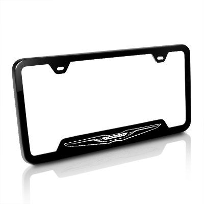 Chrysler New Logo Black Steel License Plate Frame (Chrysler License Plate Frame)
