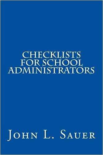Checklists For School Administrators John L Sauer 9781491286661