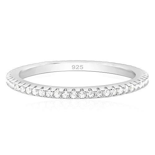 925 Sterling Silver Cubic Zirconia Stackable Stacking Ring Wedding Eternity Band - Size ()