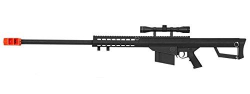 UKARMS Lancer Tactical M82 Spring Bolt Action Sniper Airsoft Rifle + Scope (Black) ()
