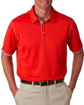 (A221 Adidas Mens ClimaCool Mesh Color Hit Polo, Red/ Mid)