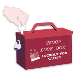 North® by Honeywell Red Steel Group Lock Box (For Work Team Lockout Situations)