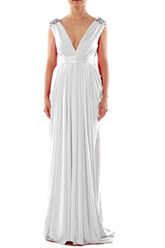 MACloth Women V Neck Long Jersey Prom Dress Wedding Party Formal Evening Gown Blanco