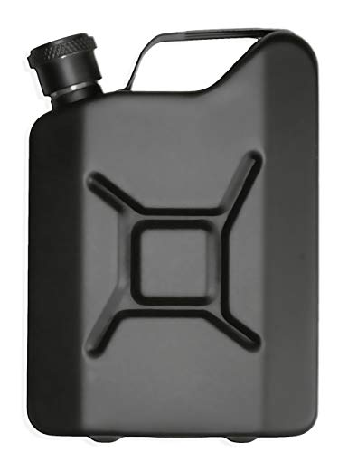 Outdoor Saxx® - Petaca de Acero Inoxidable con Aspecto de bidón de Gasolina, Botella de Bolsillo para Whiskey en Caja de Regalo, 150 ml, Color Negro