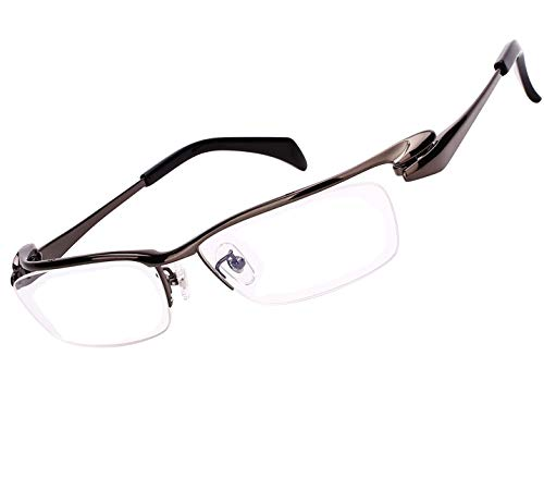 Agstum Pure Titanium Half Rimless Business Glasses Frame Eyeglasses Clear Lens (Ag1153-Gray, Non-Prescription Clear Lens)