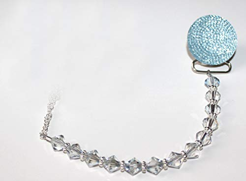 (Luxury Blue Crystal from Swarovski Beads and Blue Glitter Baby Boy Sparkly Gift Pacifier Clip)