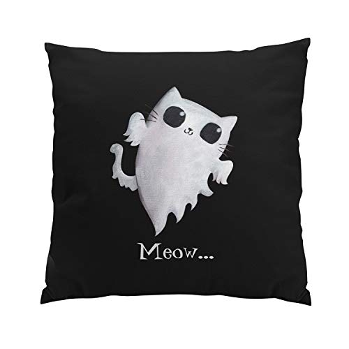 Gygarden Romantic Halloween Cute Ghost Cat Hidden Zipper Home Sofa Decorative Throw Pillow Cover Cushion Case Square 18x18 Inch Two Sides Design Printed Pillowcase ()