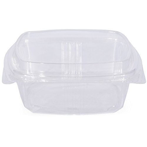 Simply Deliver 12 oz Hinged Lid Deli Container with Complete Air-Tight Seal, Crystal Clear PET, 200-Count
