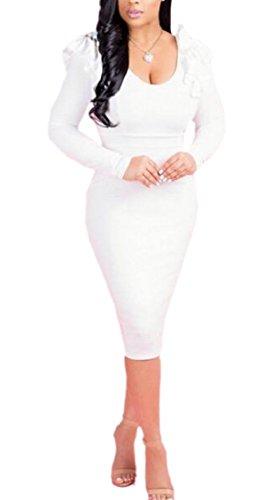 Jaycargogo Femmes Hérissent Manches Longues Col V Profond Robe Midi Moulante Sexy Blanc