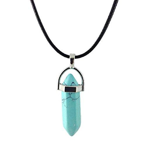 [Dastan Necklace Gemstone Hexagonal Healing Pointed Reiki Chakra Pendant on Leather Cord] (Titanic Costumes Ideas)