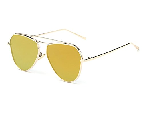 Avaitor Flat Top Sunglasses Tinted Lens Metal Thin Frame Unisex,Konalla - Quay Flat Sunglasses Top