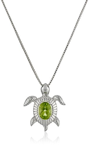 Sterling Silver Peridot Turtle Pendant Necklace, 18