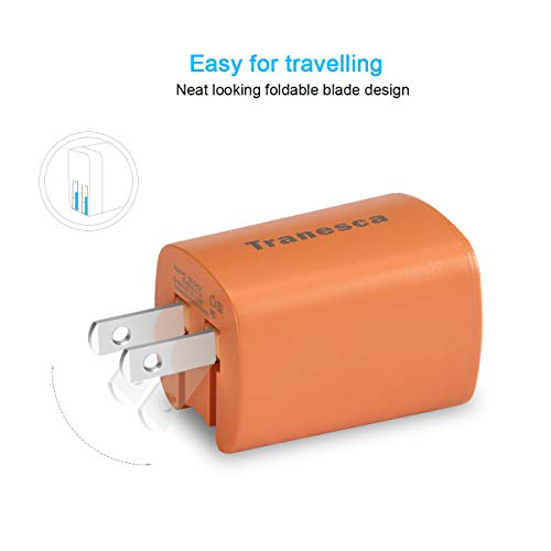 Tranesca Compatible Dual USB Wall Charger for iPhone XS//XR//X//8//7//6 iPad Coral Samsung Galaxy and More