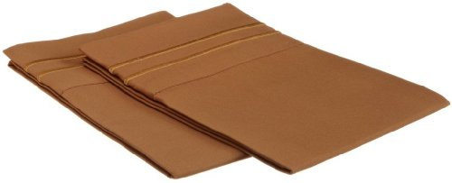 Clara Clark  Supreme 1500 Collection Pillowcase Set - Standard Size, Mocha Light Brown Carmel
