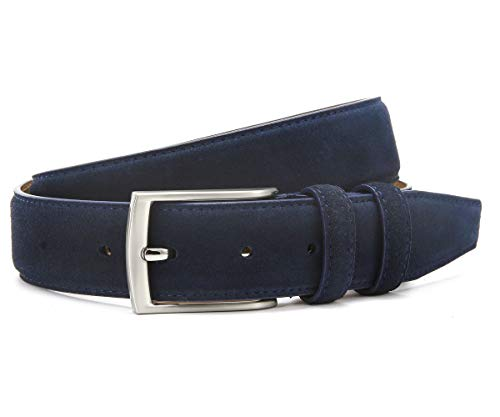 (Ground Mind Extra Thickness Suede Leather Belt for Men,36,Navy Blue)