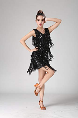 Abito Nappe Danza Vestito Donna Jeelinbore Rumba Valzer Salsa solo Vestito Tango Costume Da Ballo Clubwear Nero SnX8px