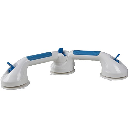 Multi-positional 180 Degree Suction Grip Bathtub and Shower Handle with color lock indicators
