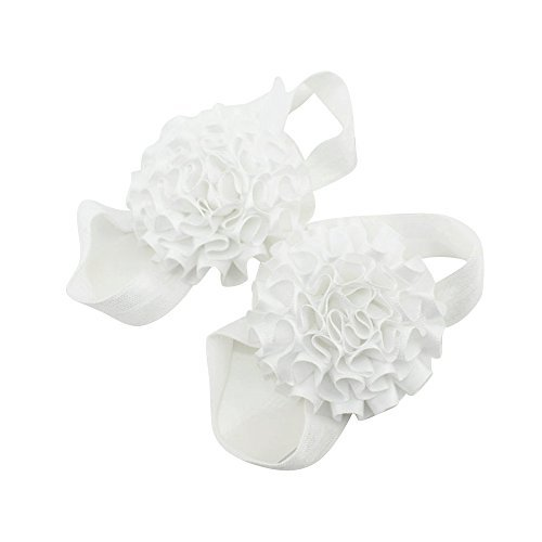 Flyyfree Baby Girl Ribbon Flowers a piedi nudi sandali scarpe (bianco)