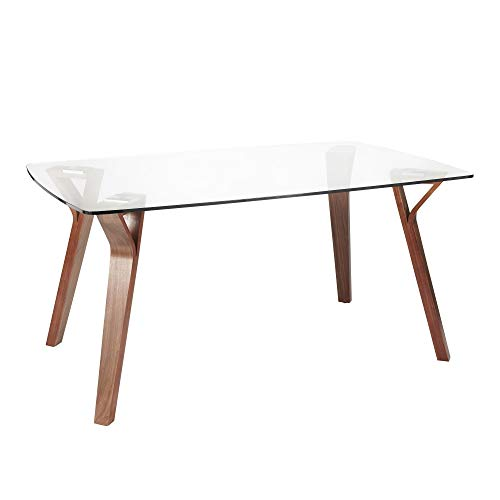LumiSource Dining Table in Walnut and Clear