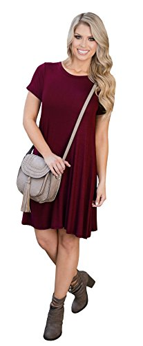Casual Shirt Tunic Aecibzo Loose Sleeve T Wine Women's Red Short Fit Dress 00wq6px
