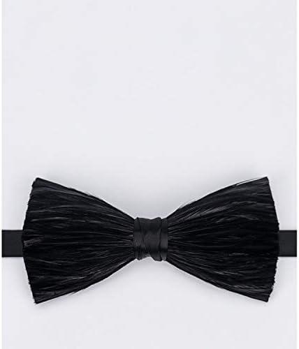 OYWNF Moda Negro Seda Pluma Corbata con Textura de los Hombres ...